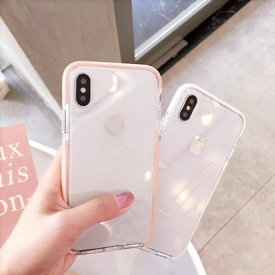 For iPhone XS Max XR 7 8 Plus Clear Back Shockproof Bumper Protective Cover Case