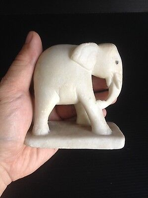 Antique white elephant marble statue
