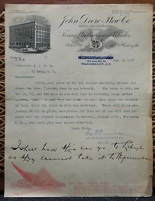 Antique John Deere Plow Company letterhead dated March 8th, 1902