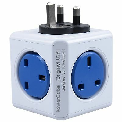 Allocacoc PowerCube Original with 2 USB Port Charger - Cobalt Blue - UK Version