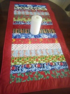 Handmade Quilted Christmas Table Runner red scrappy strip pieced