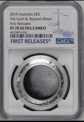 Ngc Pf70 2019 Australia Domed Earth And Beyond The Moon 1 Oz Silver $5 Coin Moon