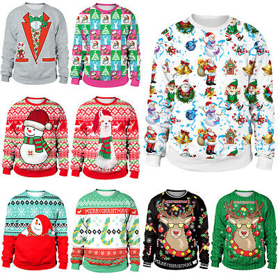 AU Womens Mens Ugly Christmas Deer Sweater Xmas Santa Jumper Sweatshirt Tee Tops
