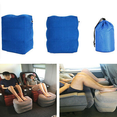 Portable Airplane Inflatable Travel Foot Leg Rest Footrest Pillow Kids BLUE
