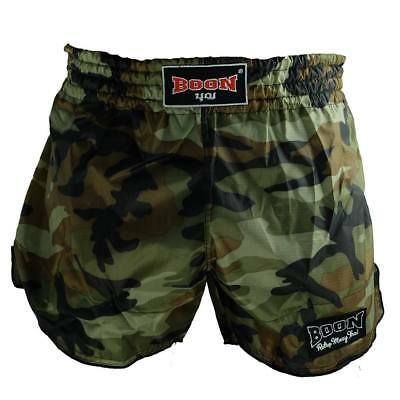 BOON Retro Muay Thai  Shorts Camo/Black Trim All Sizes! MMA Add your own Name!