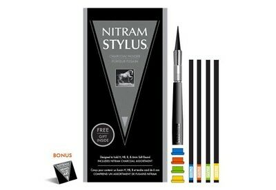 Nitram Charcoal Stylus Set 1 x Stylus, 4 Caps Plus 4 Charcoal Sticks