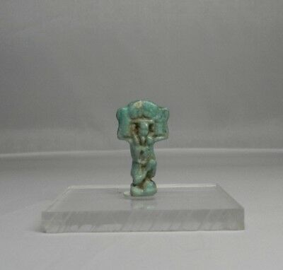 Ancient Egyptian Faience Shu Amulet c.600 BC with COA.