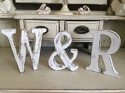 LARGE SHABBY CHIC VINTAGE WHITE WOODEN NAMES KIDS A-Z INITIAL Alphabet Letters &