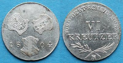 Further Austria 1804 H 6 Kreuzer Aunc Silver Rare Coin Germany German State