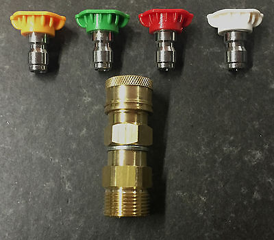 M22 Karcher Type Adapter Male x Quick connect coupling with Coloured Tips Set