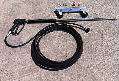 Water Broom M22 Jet Wash Gun with Roller Nozzle Bar Attachment 250 bar Hose Kit