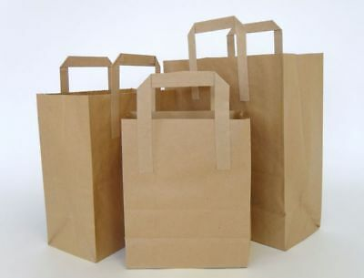 All Size Carrier Bags - Kraft Paper Gift Bag Flat Handles - Recyclable Brown