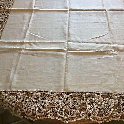 stunning Antique/vintage linen tablecloth with hand made  lace crochet edging