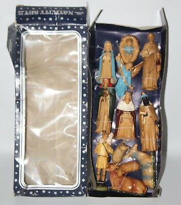 Vintage Hand Decorated 12 Piece Christmas Nativity Set - Unused in Box