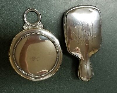 Sterling Silver Antique Victorian Hand Held Mirror And Man's Brush