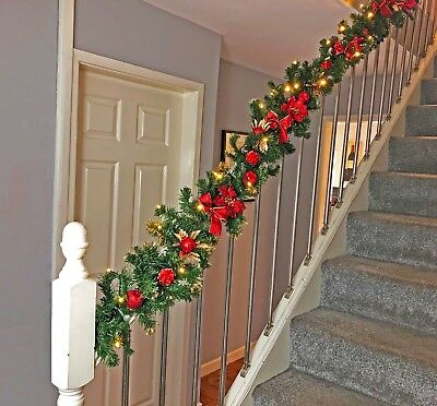 Pre Lit 2.7m & 1.8m Red Stairs Fireplace Christmas Garland Swag LED Lights