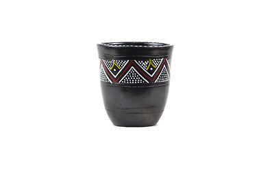 Decorated ornament cup mug handmade clay pottery from Ethiopia. African art.