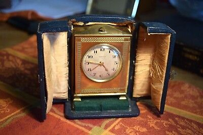 Rare Bronze Zenith Alarm Clock Original Leather Case
