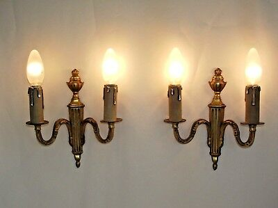 Beautiful Pair of Vintage French Empire Style Double Brass Wall Light Sconce 880
