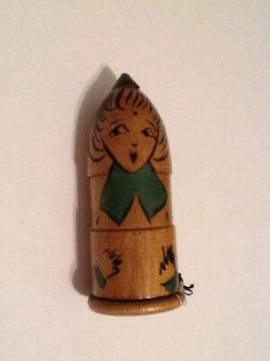 Vintage Handmade Russian Nesting Doll Sewing Kit Thread Keeper Great Condition