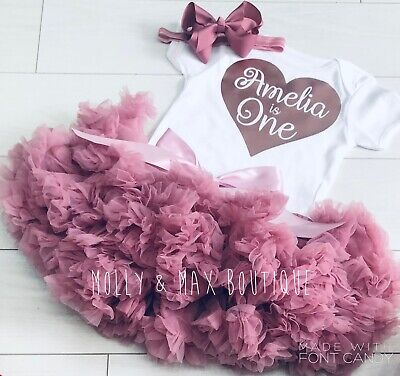 Luxury Girls 1st First Birthday Tutu Skirt Personalised RoseGold Dusky CakeSmash