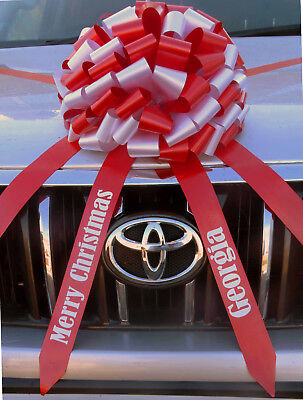 Large Christmas Car Bow with PERSONALISED TAILS Giant Gift Bow  ALL COLOURS