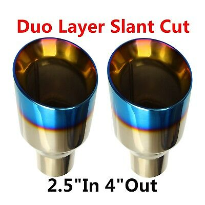 """2X 2.5""""In 4""""Out Stainless Steel Polished Blue Burnt Exhaust Tip Duo Layer Slant"""