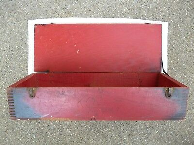 Vintage Antique Gilbert Wood  Dovetail Tool Chest Brass Handles