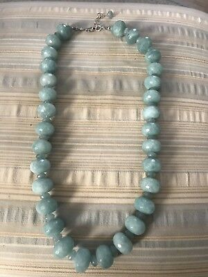 "Blue Quartz Faceted Chunky Bead Necklace 22""& 1.5"" Extender"