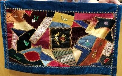 Antique hand made velvet and silk quilted wall hanging /table runner