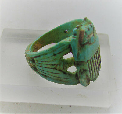 Beautiful Undated Egyptian Glazed Seal Ring With Scarab On Top