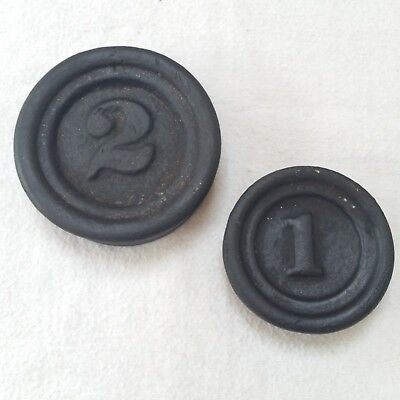 Set Of Two Vintage Cast Iron Scale Stacking Nesting Weights 1 lb & 2 lb