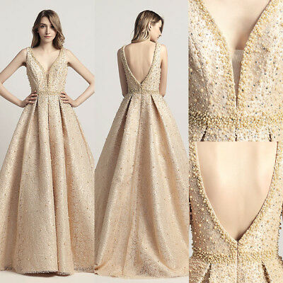 Beaded Lace Party Evening Dress Sexy V-neck Formal Women Prom Ball Gown IN Stock