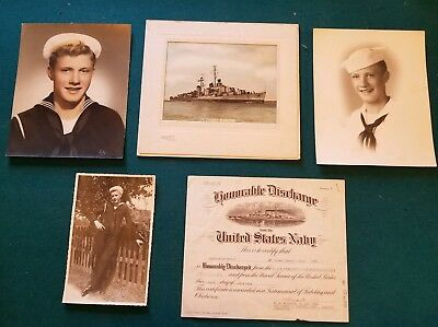 Lot of Vintage Photos Handsome WWII Navy Sailor in Uniform Honorable Discharge