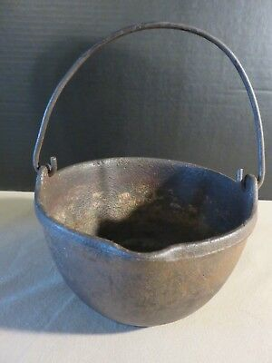 Vintage Antique Primitive Black Cast Iron Stove Pot Pan Original Jumbo 8