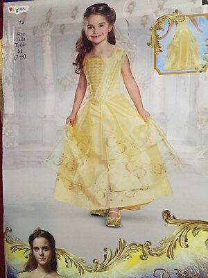 NWT Girls DISNEY PRINCESS Belle Beauty & Beast Deluxe Costume Size M 7-8 Dress
