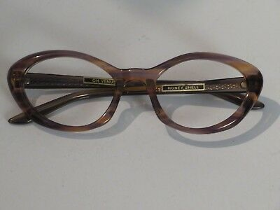 Vintage 1960's Glass / Spectacles Frames Ladies  Oh Venus Honey Shell  No Lenses
