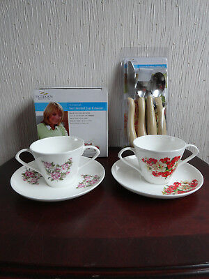NEW & BOXED PATTERSON MEDICAL - CARING CUTLERY + 2 x 2 HANDLED CUPS & SAUCERS