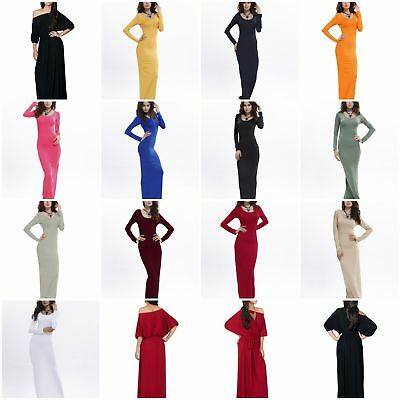 Women DressLong Sleeve Plain Party Ball Gown Prom  Evening  Bridesmaid Maxi