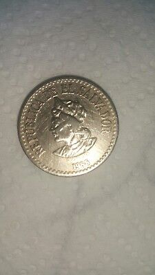1 Colon El Salvador 1985 Coin Circulated Cristobal Colon Columbus