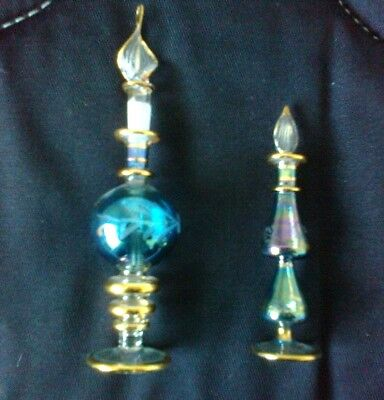 2 x Handblown Egyptian Perfume bottles with gold accents