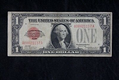 $1 1928 Red Seal US Note A00621112A One Dollar SINGLE YEAR ISSUE, FREE SHIPPING
