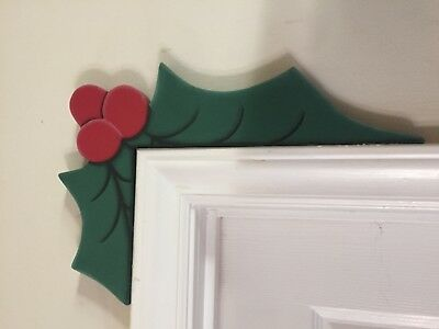 Wooden Christmas Door Window Corner Decor - Holly comer accents
