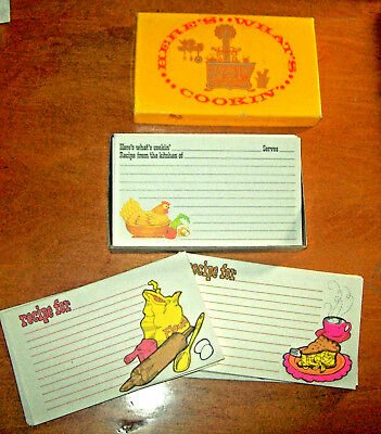 "Vtg 70s 80s Asst.Box Current 73 Recipe Cards ""Here's What's Cookin"" Hen / Baking"