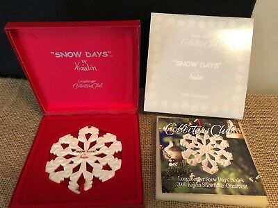 Longaberger 2000 Collectors Club Snow Days By Kaitlin Ornament  NEW