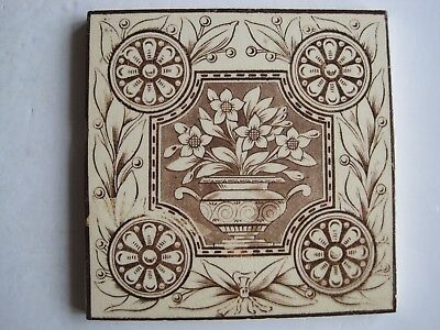 Antique Victorian Transfer Print Brown On Buff Tile - Central Vase Of Flowers