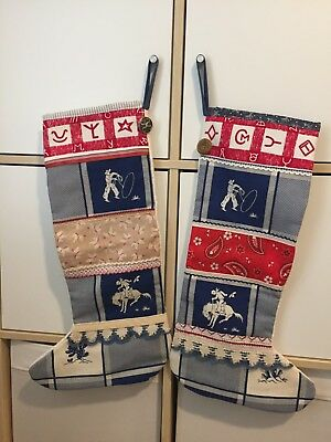 PAIR HANDMADE Christmas Stockings Vintage Cowboy Motif Trim