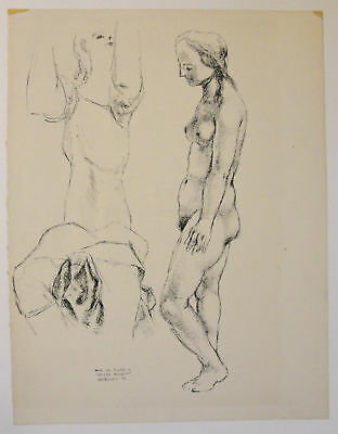 Federico Castellon abstract modernist Spanish artist female nude drawing