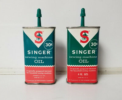 Vintage Singer Sewing machine Oil cans lot of 2   30 cents Full handi oil