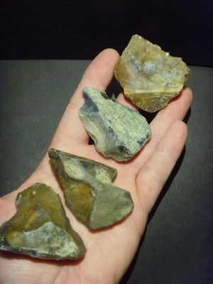 Lower Palaeolithic - Four Acheulean flake tools -  UK. C.350,000+ BP